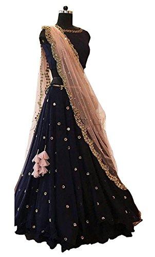 Salwar Style Women\'s Georgette Long Cholis Lehenga Choli (Beauty _Blue_Free Size)