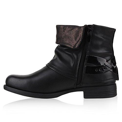 Warm Gefütterte Damen Lack Biker Boots Nieten Stiefeletten Schwarz