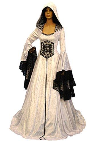 Damen Langarm Mittelalter Kleid-Gothic Viktorianischen Königin Kostüm mit Spitze, Kapuze,Schnürung. Weiß (Weiße Königin Kostüm)