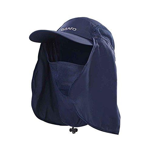 TSHOME Outdoor 360 ° UV Schutz Sonnenhut Cap mit Nackenschutz & Face Flap Cover Faltbarer Anti-Moski (Marine) -