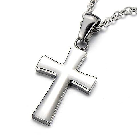 Petit Collier Croix Cru- Unisex Croix Pendentif Collier Homme Femmes Acier Inoxydable - Argent Couleur