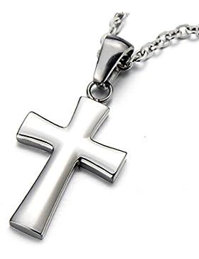 Unisex Kleinen Kreuz-Anhänger Edelstah Halskette für Damen für Herren Silber Farbe