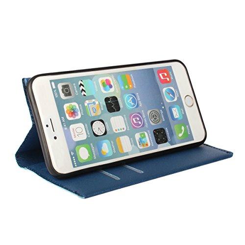 """MOONCASE iPhone 6 Case Prime PU Cuir Housse Étui pour iPhone 6 4.7"""" Portefeuille de Protection Coque avec La Fonction Stand Hot Rose Bleu"""