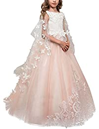 Vestido de niña de flores para la boda Niñas Niños Largo Gala cumpleaños Encaje De Ceremonia