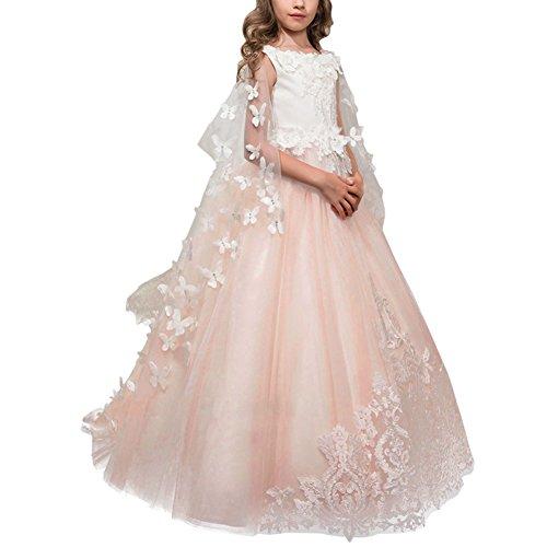 OBEEII Mädchen Blumenmädchen Kleid Hochzeit mit Appliques Kinder Lace Up Tüll Festzug Abendkleid...
