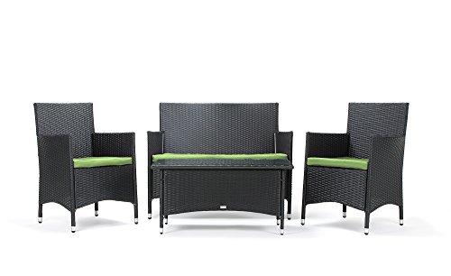 Rattan4Life Avignon Rattan Schwarz/Gruen Polyrattan Gartenmoebel Sitzgruppe Lounge Moebel Set Tisch...