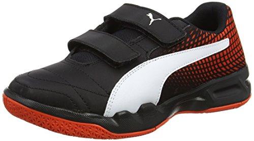 Puma Unisex-Kinder Veloz NG V Jr Multisport Indoor Schuhe Schwarz Black White-Cherry Tomato, 32 EU