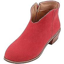 Botas Mujer Tacon Medio Planos Invierno Tacon Ancho Piel Botines Moda Casual Planas Zapatos Ankle Boots