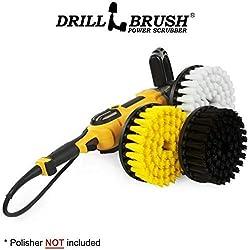 Drillbrush - Produits de nettoyage - Nettoyant à plancher - 7 pouces - Blanc doux - Nettoyant à tapis - Jaune moyen - Nettoyant à douche - Noir ultra rigide - Moyeu fileté 5/8 x 11