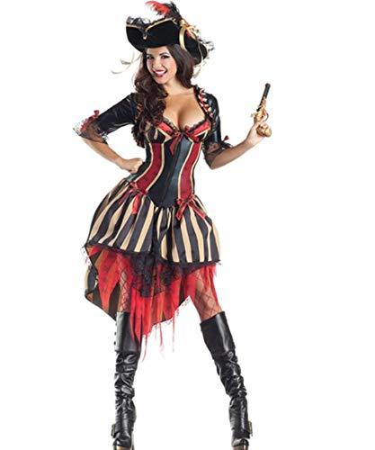 (LCXYYY Piraten Kostüm Damen Mädel Pirat Halloween Frau Kleid Karneval Verkleidungsparty Cosplay Faschingskostüm Sexy Erwachsenenkostüm Piratin)