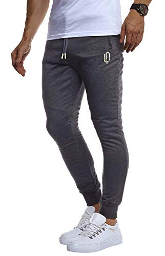 LEIF NELSON Herren Trainingshose Sporthose Slim Fit | Männer Fitnesshose Jogginghose Lange Fitness-Hose für Sport Training Bodybuilding | Jungen Sweatpants Jogging | LN8298; M; Anthrazit-Gelb