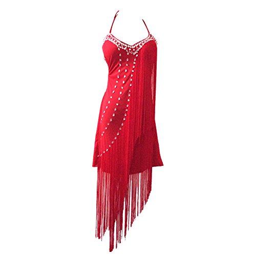 ESHOO Femmes Robe de Danse Sequins Avec Gland Rhinestone Costume de Performance Danse Rouge