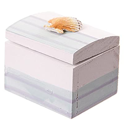 Puckator SEAS22 Decoration Navy Secret Box with Sea Shell Seaside Wood Design
