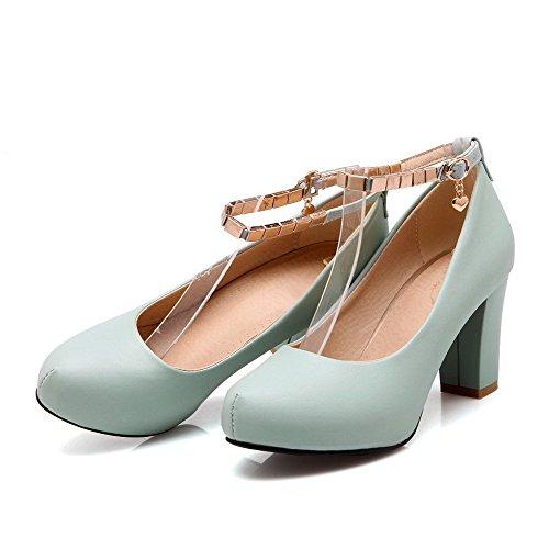 VogueZone009 Femme Pu Cuir à Talon Haut Mosaïque Rond Boucle Chaussures Légeres Bleu