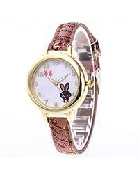 Relojes De Pulsera para NiñAs Reloj De Pulsera Redondo De Cuarzo De Cuero De Moda para