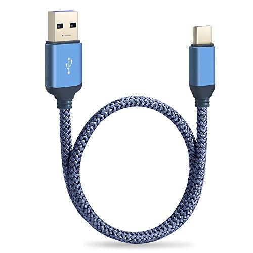 Samsung Galaxy S8 Kabel, Typ C auf USB 3.0 Kabel, Higoo 0.3M [1ft] USB Typ C Kurz Schnell Ladegerät & Sync Daten Nylon geflochten Schnell Ladekabel für Galaxy Note 8 S8 Plus Huawei P10 Honor 9 Blau