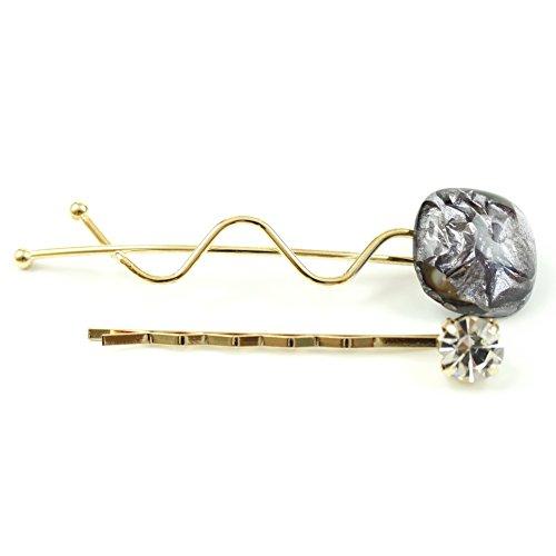 rougecaramel - Accessoires cheveux - Mini pince fantaisie métal doré lot de 2pcs - gris