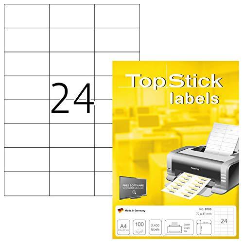 TopStick 8706 Universal Etiketten (DIN A4, 70 x 37 mm) selbstklebend bedruckbar 100 Blatt permanent haftend matt weiß -