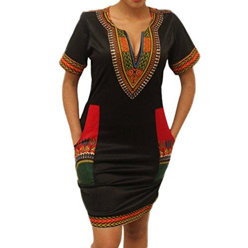 LAEMILIA Damen Traditionelle Afrikanische Druck Kurzarm V-Ausschnitt Bodycon Wide Dashiki Ethnisch Gedrucktes Tunikakleid Sommer Kleider Party (3XL(46), Schwarz)