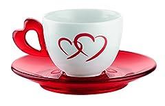 Idea Regalo - Guzzini Love Set 6 Tazzine Caffe con Piattini, Porcellana, Rosso Trasparente, 30x35x9.5 cm, 6 Unità