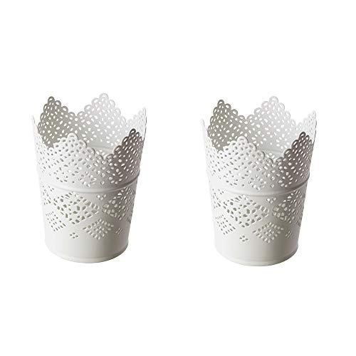 2x IKEA SKURAR - Kerzenhalter, weiß - 11 cm