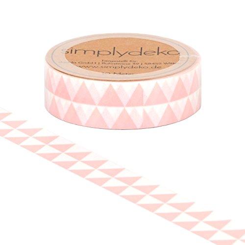 Simplydeko Washi Tape - Masking Tape Vintage und Retro - Wundervolles Washitape Bastel-Klebeband aus Reispapier - Gleis Dreieck Rosa -
