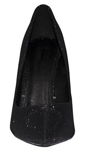 Elara Damen Pumps | Spitze Glitzer Stilettos | High Heels Schwarz