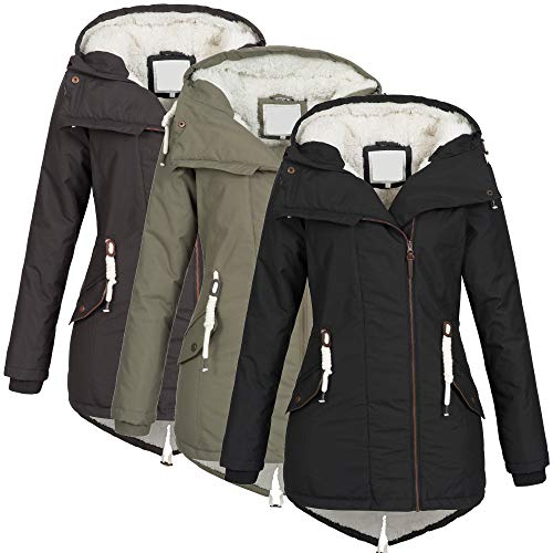 Azuonda Damen Winter Jacke Mantel Winterjacke Parka Wintermantel warm gefüttert Teddyfell Az98 XS-XXL