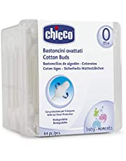 Chicco Cotton Buds Safe Hygiene with Ear Protection, 64 Pieces, White