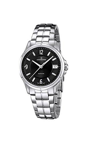 Candino Damen-Quarzuhr mit schwarzem Zifferblatt Analog-Anzeige und Silber Edelstahl Armband C4533/3