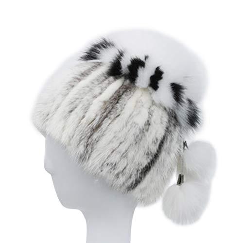 Nerz Ohrenschützer (LUOEM Weibliche Nerz Strohhut Herbst Winter Blume gestreiften Hut Stricken Ohrenschützer Nerz Hut (weiß))
