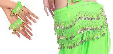 Belly Dance Bauchtanz Kostüm Hüfttuch inkl. ein Paar Handketten Münzgürtel Fasching Karneval Tanzaufführung Gürtel in grün NEU /Marke (Bauchtanz-kostüme Amazon)