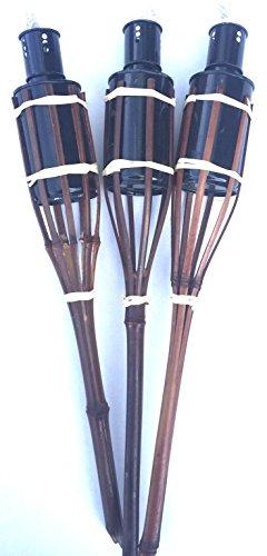 16 Gartenfackeln a. Bambus Öllampen mit Sturmverschluss (16 Stück 42 cm, Teak / mahagoni)
