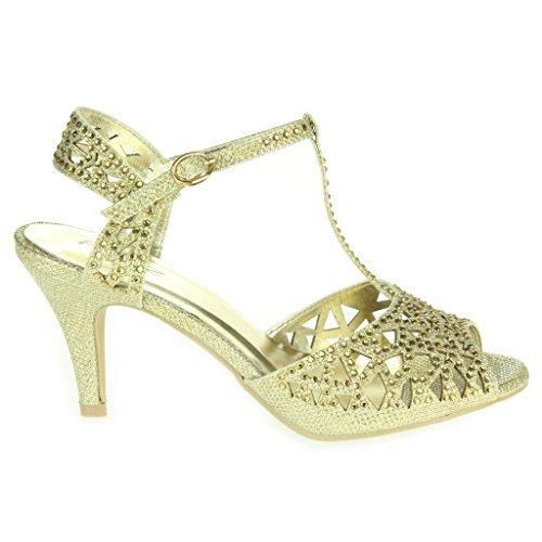 Frau Damen Diamante T-Bar Peep Toe Fesselriemen Mittel Absatz Abend Party Hochzeit Prom Sandalen Schuhe Größe Gold