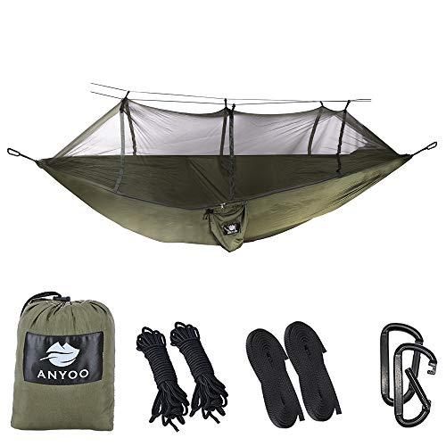 Anyoo Hamac de Camping avec moustiquaire en Nylon Parachute de Nylon Parachute léger léger lit de Voyage portatif pour la randonnée pédestre Voyage Câbles de Voyage mousquetons Inclus