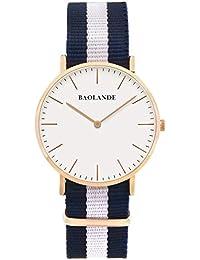 Alienwork Classic St.Mawes Quarz Armbanduhr elegant Quarzuhr Uhr modisch Zeitloses Design klassisch rose gold blau Nylon U04819G-02
