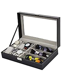 Styleys Wrist Watch Storage Box Display Case Organizer Jewellery Organizer Storage Box Sunglasses Storage Box- 6+3 Grids Watch Box (W75B)