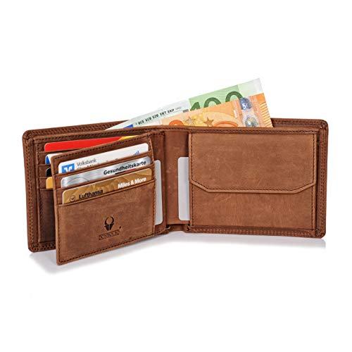 Donbolso Zürich Geldbörse Leder Herren - Geldbeutel braun - Portemonnaie für Männer mit RFID Schutz - Echtleder Portmonee - Brieftasche Braun Herren Portemonnaies