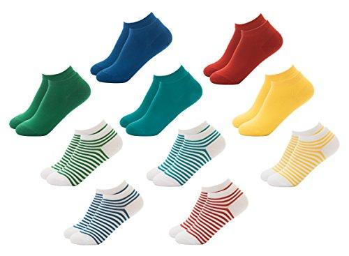 FOOTNOTE Sneaker Socken, 10 Paar, Damen/Herren, in schwarz, weiß oder bunt, Größen: 35-38, 39-42 und 43-46
