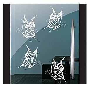 DD Dotzler Design 5919   4 Stück Set einzelne Schmetterlinge   Fensterbild Aufkleber Milchglasfolie   Zubehör Fensterfolie Klebefolie Fensteraufkleber