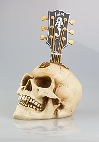 GOTHIC GUITAR HEAD SKULL - Weird Bone Effect Human Head Ornament In Antique Finish