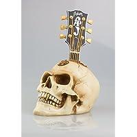 GOTHIC GUITAR HEAD SKULL - Weird Bone Effect Human Head Ornament In Antique Finish by YGL