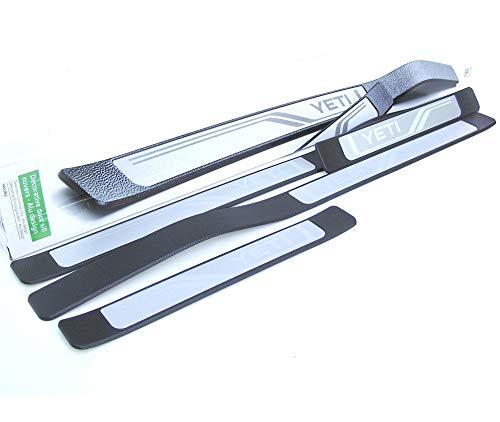 Skoda 5L0071303 Edelstahl Einstiegsleisten 4X Leisten Einstiege v+h Türschweller mit YETI Schriftzug