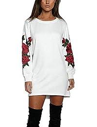 Vestito Felpa Donna Maglia Manica Lunga Elegante Moda Vestitini Autunno  Inverno Camicie Blusa Felpe Tumblr Lunghe f21fd1e420e