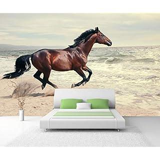 Vlies Tapete XXL Poster Fototapete Pferd Strand Meer Farbe color, Größe 200 x 150 cm selbstklebend