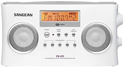 Sangean PR-D5 Package Radio Stéréo Portable RDS avec Chargeur DC 9V 700mA Blanc
