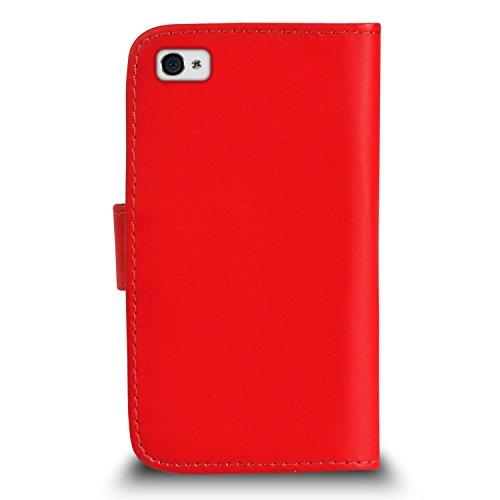 Apple iPhone 4 / 4S Pack 1, 2, 3, 5, 10 Protecteur d'écran & Chiffon SVL3 PAR SHUKAN®, (PACK 5) Portefeuille ROUGE