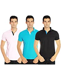 Amstead Polo Neck Half Sleeve Plain T-Shirt Combo (Pack of 3)