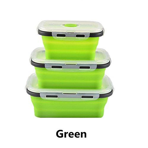 Lunch Box - Fresh Seal Box - Bento Box - Set Tre Pezzi - Silicone - Pieghevole - Studente,Green