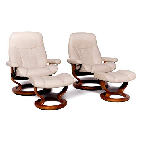 Stressless Consul L Designer Leder Sessel Garnitur mit Hocker Beige Echtleder Stuhl Relax Funktion #8742
